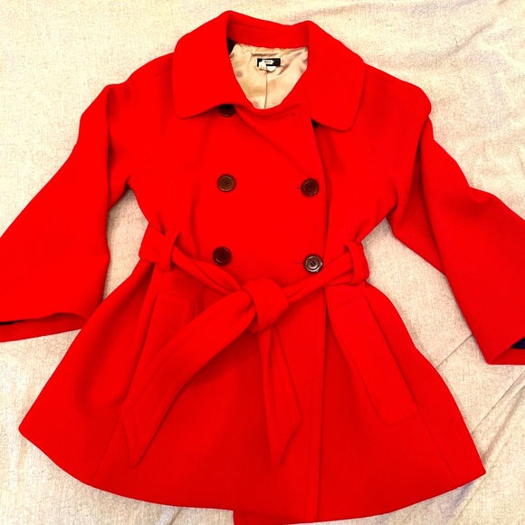 JCrew red belted pea coat size 6